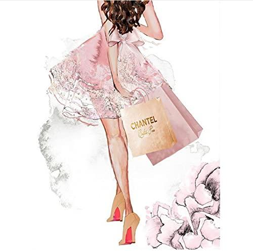 Duying Decoración de la habitación del hogar Arte de la Pared Labios Rosados Bolsa de Perfume Tacones Altos Póster Impresión en Lienzo Pintura 50x70cm (19.68x27.55 in) K-283