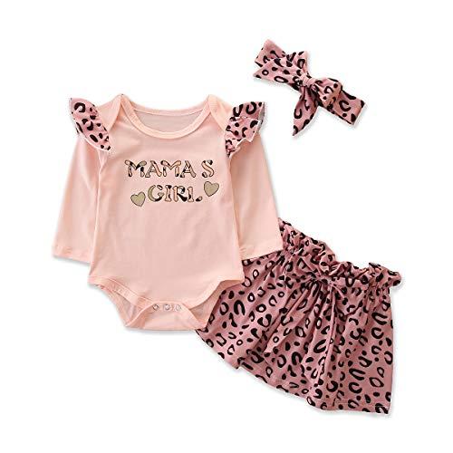 Carolilly - Pelele de manga larga con falda y cinta para el pelo con cuello de leopardo Rosa. 6-9 Meses