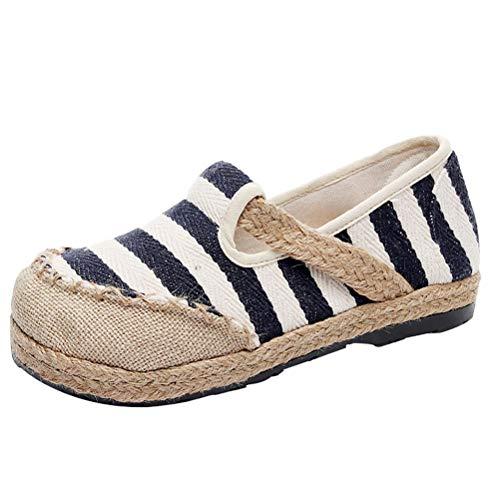 Mallimoda  Damen Espadrilles Slipper Gestreift Low-top Schuhe Flatschuhe, 40 EU, Schwarz