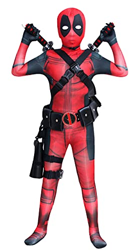Koveinc Unisex Superhero Bodysuit Halloween Cosplay Costumes Kids 3D Style Large