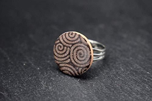 Keramik-Designer-Schmuck für Damen Ring verstellbar rund in braun Handmade Modeschmuck aus Fliesen