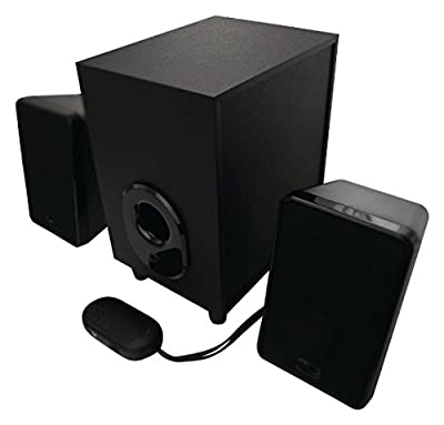 DTL SUB 2.1 Speaker System - 80 watt - Sub woofer amplified speaker with 3.5mm jack (Fits: Retro Music Centres, Novelty Nostalgic Audio, MP3 players, Computers & Jukeboxes – by Ricatech, Steepletone, etc) - 3.5mm jack lead attached - Magnetically shielded