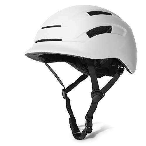 GLAF 自転車 ヘルメット 大人用 スケートボード用ヘルメット ロードバイク 頭囲 56〜61cm LEDライト付き USB充電 シティヘルメット インモールド成形 ロードサイクリング マウンテンバイク 安全保護 スポーツ キャップ メンズ 女性(ホワイト, L)