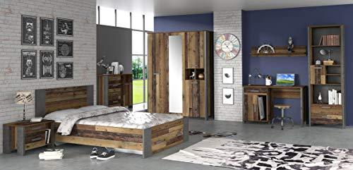 möbel-direkt Jugendzimmer Clif in Dunkelgrau und Old- Wood Vintage 4 teiliges Komplettset mit Schrank, 140er Bett, Nachttisch und Schreibtisch