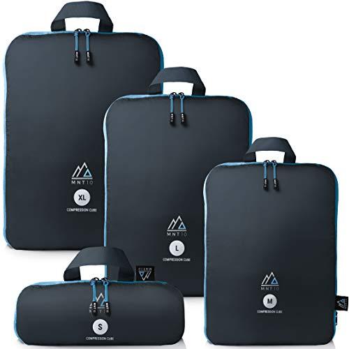 MNT10 Packtaschen mit Kompression S, M, L, XL I Blau I Packwürfel mit Schlaufe als Koffer-Organizer I leichte Kompressionsbeutel für den Rucksack (Blau, 4er Set (S, M, L, XL))