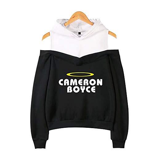 JiangJie Kawaii Cameron Boyce Schulterfreies Hoodies-Sweatshirt Coole Frauen Mode Hüfte Sweatshirts Lose Pullover Streetwear Hoodies