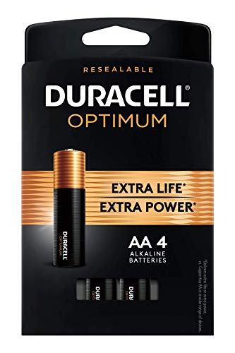 Duracell Optimum AA Batteries | 4 Count Pack | Lasting Power Double A Battery | Alkaline AA Battery Ideal for Household and Office Devices | Resealable Package for Storage