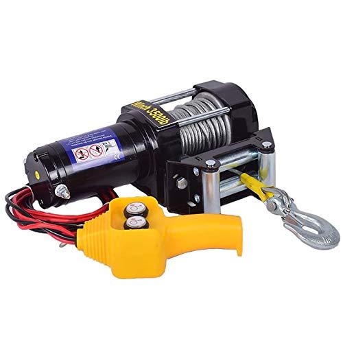 LiChenY Cabrestante Electrico 12V / 24V Polipastos Electricos Portatil, 2000lb/3000lb/3500lb/4000lb/4500lb Capacidad de Carga Control de Mango Impermeable Alambre Sintético Cabrestante