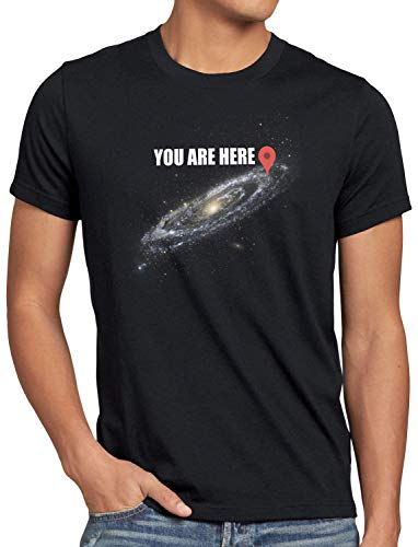 style3 Galaxy - You Are here Herren T-Shirt navigationssystem, Größe:L
