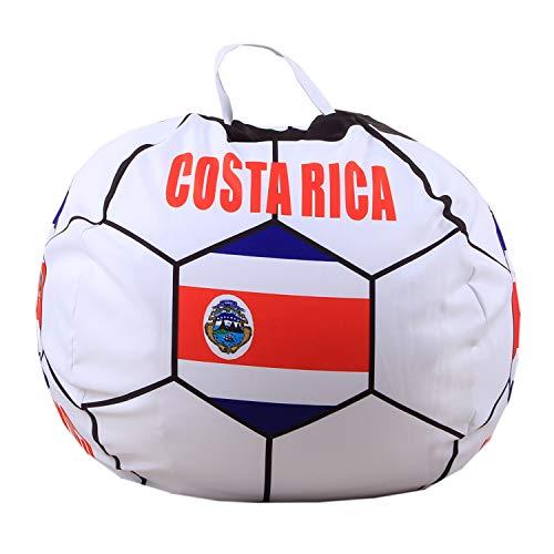 Youngshion Puf de lona con forma de fútbol mundial de 26 pulgadas, diseño de animales de peluche, banderas nacionales, para niños, organizador de ropa de peluche, funda suave (Costa Rica)