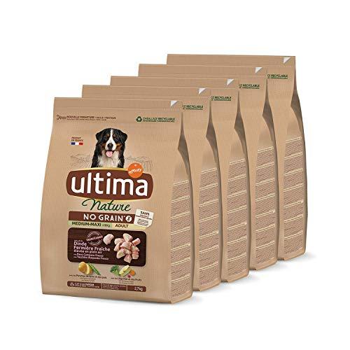 Ultima Nature No Grain Pienso para Perros Medium-Maxi sin Cereales con Pavo, Pack de 5 x 2.7kg - Total: 13.5kg