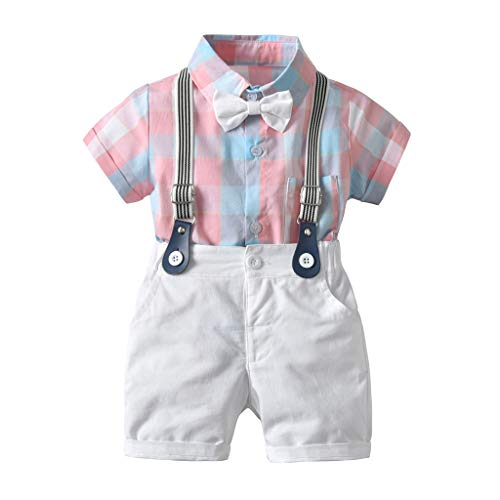 MRULIC Baby Anzug Gentle Jungs Plaid Bow Shirt T-Shirt und Kurze Hosen Outfits Hübscher Sommeranzug mit kurzen Ärmeln(A-Rosa,6-12 Monate)