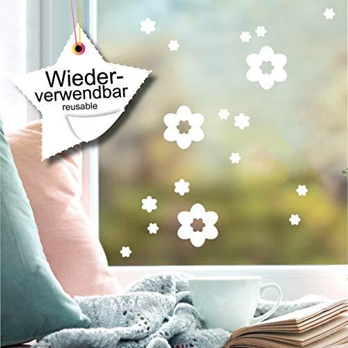 Wandtattoo-Loft Fensteraufkleber Frühlings Blumen WIEDERVERWENDBAR