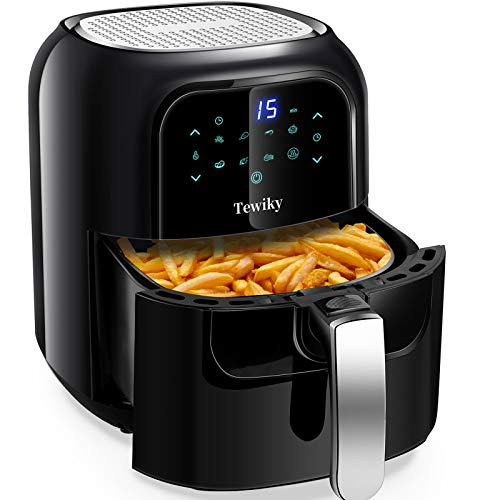 Tewiky Air Fryer, 5.8 Quart,1400 Watt 60 Minutes Digital Air Fryers Oven & Oilless Cooker for Air Frying,Roast. Bake ,LED Digital Touchscreen with 7 Presets,Nonstick Basket