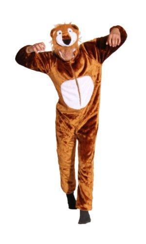 Foxxeo Premium Plüsch Löwen Kostüm für Erwachsene Damen und Herren Tierkostüm Overall Jumpsuit Größe L