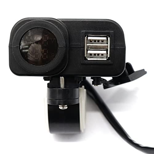 BGTR 4.2A Motocicleta DUAL USB Cargador Voltímetro Termómetro Monitor Monitor Teléfono Móvil Capítulo rápido Enchufe Partes de reparación de Moto Professional