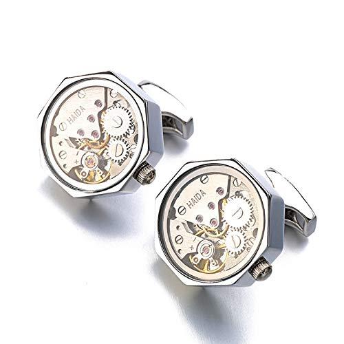 heshuo Gemelos inamovibles con mecanismo de reloj de acero inoxidable Steampunk Gear Watch Gemelos para hombre (color metálico: chapado en rodio de imitación)