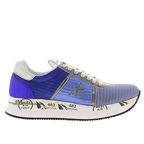 Hellblaue Stoff-Sneaker mit silbernen Ledereinsätzen, Silber - silber / schwarz - Größe: 35/40 EU