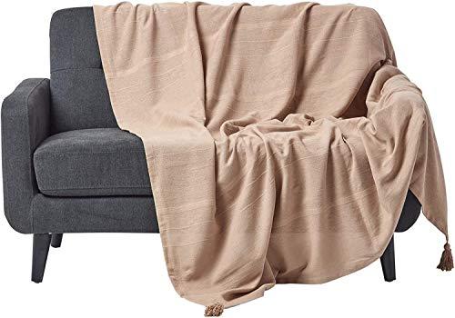 Homescapes große Tagesdecke Rajput, beige, Wohndecke aus 100prozent Baumwolle, 225 x 255 cm, Sofaüberwurf/Couchüberwurf in RIPP-Optik
