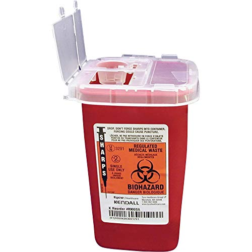 """Unimed-Midwest 1 Quart Flip Top Sharps Container, 6.3"""" x 4.5"""" x 4.3"""", Red"""