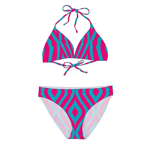 Women's Sexy Bikini Set Two Piece Swimsuits, Pink Teardrop Custom Blue Background, String Padded Swimwear