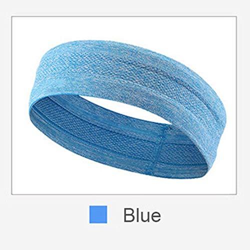 Diadema Deporte Hombres Sudor Bandas para el Pelo Cinta de Correr Protección para la Frente Correr Fitness Yoga Tenis Sobregrip Mujeres Elastic Sweatband # 32, Azul