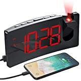 PICTEK Projection Alarm Clock, 4 Dimmer, Digital Clock with USB Phone Charger, Easy to Use, Clear Big Red Digit, 5'' LED Curved Screen, 180° Rotable, Digital Alarm Clocks for Bedrooms Ceiling, 12/24H