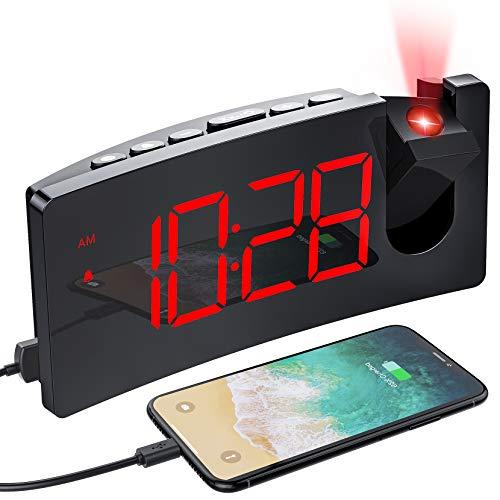 MPOW Réveil Projection Plafond avec écran Incurvé à LED 5 '', Réveil Matin avec Port de Chargement USB, 4 Niveaux de Luminosité, Réveil Numérique Rotatif à 180 °, Opération facile, Snooze, 12/ 24H