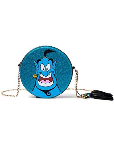 Bioworld Disney Aladdin Glitter Genie Ronde Vorm Tas met Ketting Schouderband School Rugzak, 21 cm, Blauw
