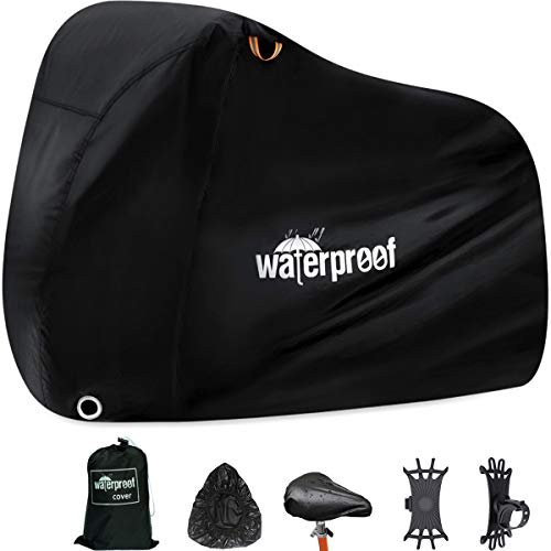 Waterproof Bike Cover for 1 or 2 Bikes, Bike Covers for Outside Storage, 210T Extra Heavy Duty Waterproof Anti Rain Dust UV Protective Bicycle Cover/Bike Storage for Mountain Bike with Storage Bag