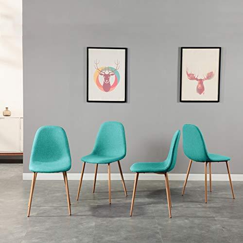 GOLDFAN 4er Set Stühle Esszimmerstuhl Stoff Küchenstühle Moderner Wohnzimmerstuhl mit Metallbeine, Blau Grün