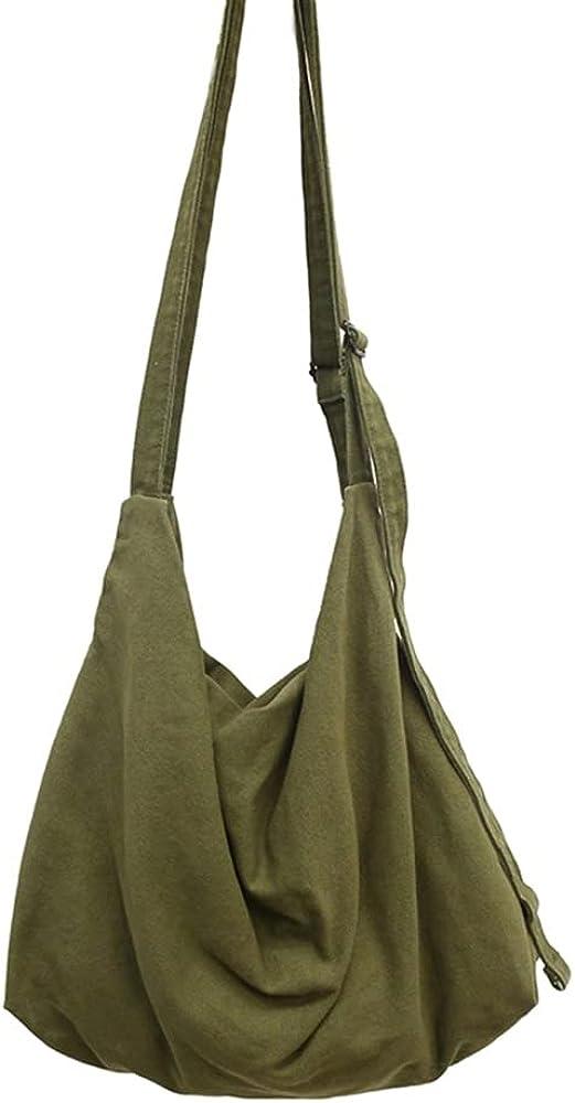HUALEENA Women's Large Capacity Canvas Bag Crossbody Bag Casual Hobo Bag Shoulder Bag Shopping Bag Unisex
