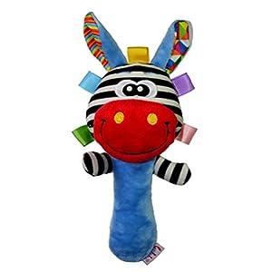 Jojofuny - Sonajero para bebé, sonajero de 0 a 6 meses, instrumentos para bebés, animales suaves, sonajeros para bebés recién nacidos (jirafa con boca roja)