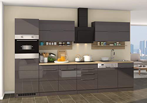 lifestyle4living Küche mit Elektrogeräten 330cm | Küchenzeile Küchenblock Einbauküche E-Geräte | Hochglanz Grau/Eiche Sonoma