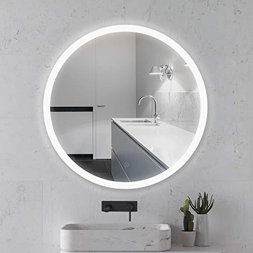 YJIIJY Espejo de Baño Redondo con LED Iluminado, Antiniebla, Montado en la Pared para Baño, Dormitorio, Hotel, Salón de Belleza (70CM, White Light - A)