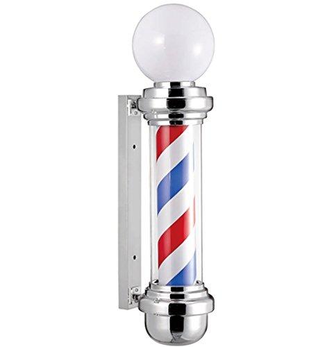 StarPole 90cm Clásico Estilo Poste de Barbero Luminosa para Peluquería tienda Azul rojo Blanco Rayas Luminoso Giratorio con Globo Lámpara para Salón Firmar