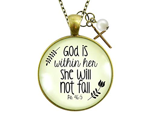 Gutsy Goodness God is Within Her Necklace Meaningful Psalm Quote Jewelry Faith Charm 24'