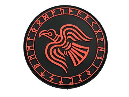 Odin Rabe Rot Rüstung Viking Wikingers PVC Airsoft Paintball Klett Emblem Abzeichen Patch