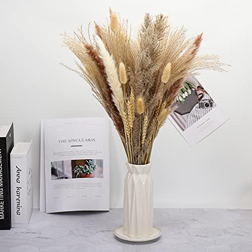 65 Pcs Pampasgras, 43cm Natürliche Getrocknete Pampasgras Pflanzen Blumensträußen Bouquet für Pampasgras vase, Boho Home Dekor, Fotografie, Hochzeit, Events, Bürodekoration