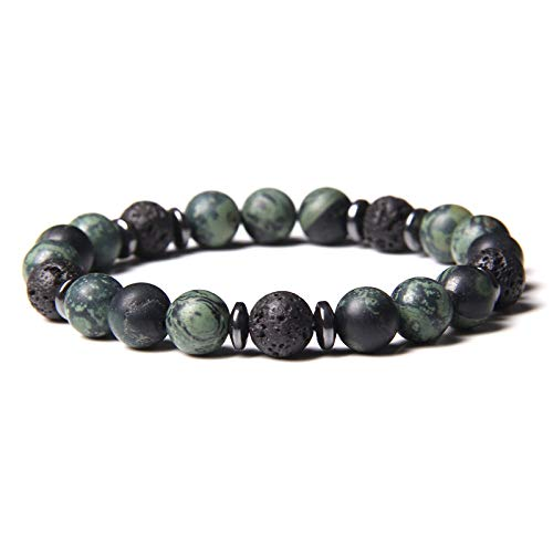 Handmade Stretch Stone Bracelets Natural Lava Stone Tiger Eye Stone Beads Men Elastic Bracelets Bangle Prayer Buddhism Black Lava Energy Stone Gold Spacer Bracelet For Women Jewery Gift ,New Polar Jad