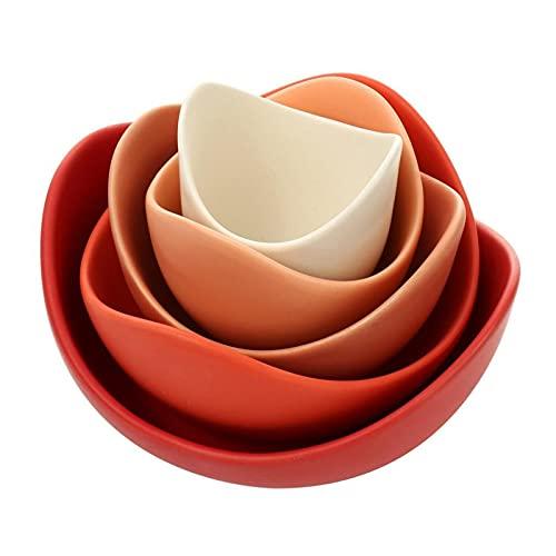 Cerámico de 5 piezas conjunto de placa de cerámica ensalada de joyería de la ensalada de la bandeja de la bandeja de la bandeja adecuada para el almacenamiento de la decoración del hogar Adornos de la