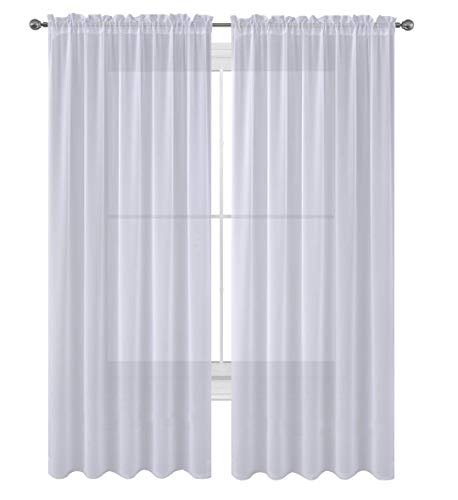 """Luxury Discounts 2 PC Solid Rod Pocket Sheer Window Curtain Treatment Drape Voile Panels in Variety of Colors (55""""x95"""", White)"""