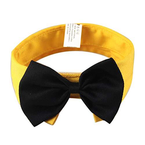 H2okp-009 Pet Bow Tie Fashion Dog Puppy Cat Bow Tie Adjustable Neckband Collar Neck Strap Pet Supplies Yellow L