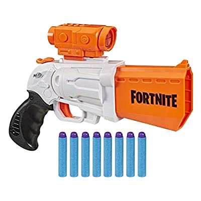 NERF Fortnite SR Blaster -- 4-Dart Hammer Action -- Includes Removable Scope and 8 Official Elite Darts -- for Youth, Teens, Adults by Hasbro