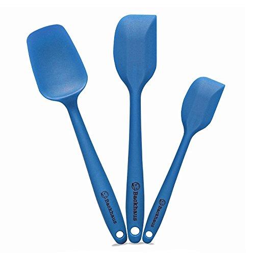 Set de Spatule de cuisine, cuillère et Maryse silicone BACKHAUS – Ustensiles de cuisines premium avec renfort en inox – Résistantes à la chaleur et adaptées à tout type de revêtements | Bleu