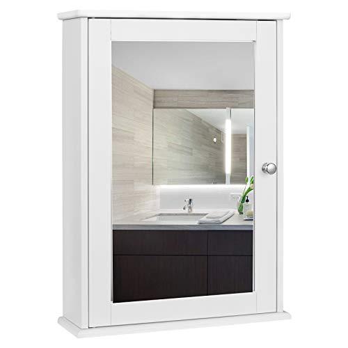 EUGAD 0019WY Armoire de Toilette avec Miroir Armoire Murale Rangement Salle de Bain MDF 42x12x58,5 cm Blanc