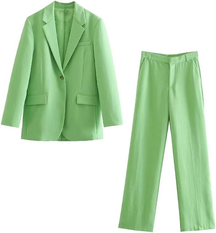 JJWC 2 Piece Set Suit Blazer Women Elegant Vintage Chic Outfit Oversized Blazer Set Pants Suits (Color : Green, Size : M Code)