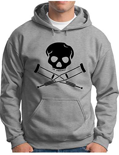 OM3® - Jackass - Invalid Skull Hoodie - Herren - Hardcore Stunts Dumb Fun - Kapuzen-Pullover Grau Meliert, 3XL