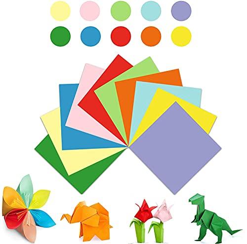 CHUANGOU Papel de Origami, Papel Kraft de Colores, Origami de Colores para Navidad Origami Proyectos de Arte y Manualidades de Bricolaje 100 Hojas de 10 Colores。(20x20cm)