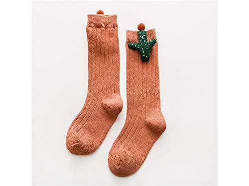 Cadeau bébé Chaussettes de coton doux enfants Enfants Automne et Hiver Cactus Mid Chaussettes de tube (Gingembre Rouge)